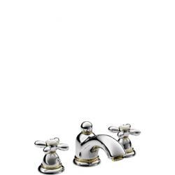 Mélangeur lavabo 3 trous 50 avec vidage à tirette et poignées croisillons (17133000)