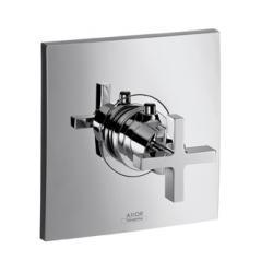 Set de finition pour mitigeur thermostatique encastré haut débit poignée croisillon