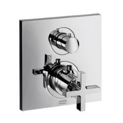 Set de finition pour mitigeur thermostatique encastré avec robinet d'arrêt/inverseur poignée croisillon (39725000)