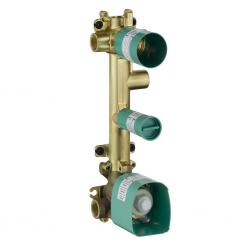 Corps d'encastrement pour set de finition 38 x 12 pour thermostatique encastré avec robinet d'arrêt et 3 sorties (36708180)