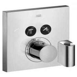 Set de finition pour mitigeur thermostatique ShowerSelect square encastré avec 2 sorties, fixfit et support de douchette