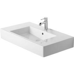 Vero Lavabo, lavabo pour meuble avec plage de robinetterie, 850 mm