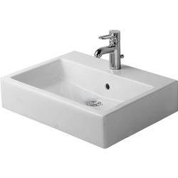 Vero Vasque à poser meulé, avec plage de robinetterie, arrière émaillé, fixations incluses, 595 mm