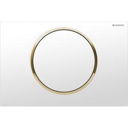 Sigma10 Plaque de déclenchement pour rinçage interrompable - blanc/or ultra brillant/blanc (115.758.KK.5)