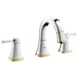 Mélangeur pour lavabo à 3 trous, chrome / or (20417IG0)
