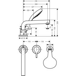 Talis S Set de finition mitigeur 3 trous 200mm pour montage sur bord de baignoire (72417000)