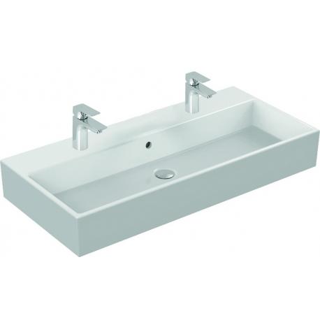 STRADA Lavabo 910 x 150 x 420 mm (2 ouvertures pour les robinets ), blanc IdealPlus (K0877MA)