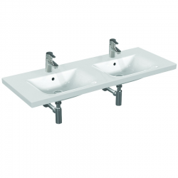 CONNECT Double lavabo 1300 x 490 x 170 mm blanc Ideal Plus (E8136MA)