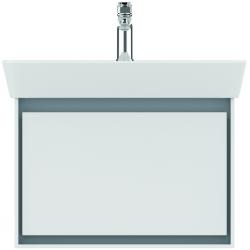 CONNECT AIR Meuble lavabo Cube 1 tiroir 650mm ,400 x 585 x 412 mm Couleur Blanc laqué/gris plume mat (E0847KN)