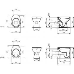 ASTOR WC à poser indépendant, sortie horizontale 360 x 390 x 485 mm blanc (V312201)