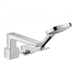Metropol Set de finition mitigeur 3 trous pour montage sur bord de baignoire avec Secuflex, poignée manette, chromé (32550000)