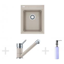 Kit de cuisine G61, Évier en granit KSG 218, sahara + Mitigeur FG 7477, sahara + Distributeur de savon FD 300 (114.0365.075)