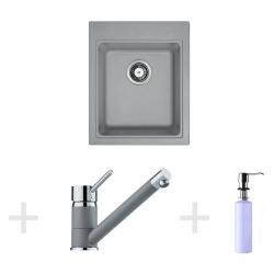 Kit de cuisine G61, Évier en granit KSG 218, pierre grise + Mitigeur FG 7477 + Distributeur de savon FD 300 (114.0365.077)