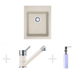 Kit de cuisine G61, Évier en granit KSG 218, vanille + Mitigeur FG 7477, vanille + Distributeur de savon FD 300 (114.0365.079)