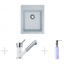 Kit de cuisine G62, Évier en granit KSG 218, blanc + Mitigeur FG 7486, blanc + Distributeur de savon FD 300 (114.0365.081)
