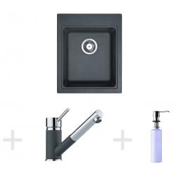Kit de cuisine G62, Évier en granit KSG 218, graphite + Mitigeur FG 7486, graphite + Distributeur de savon FD 300 (114.0365.080)