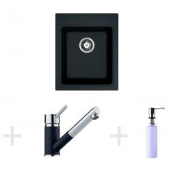 Kit de cuisine G62, Évier en granit KSG 218, onyx + Mitigeur FG 7486, onyx + Distributeur de savon FD 300 (114.0365.082)
