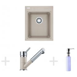 Kit de cuisine G62, Évier en granit KSG 218, sahara + Mitigeur FG 7486, sahara + Distributeur de savon FD 300 (114.0365.083)