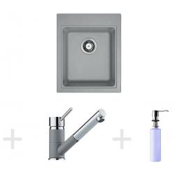 Kit de cuisine G62, Évier en granit KSG 218, pierre grise + Mitigeur FG 7486 + Distributeur de savon FD 300 (114.0365.084)