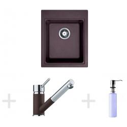 Kit de cuisine G62, Évier en granit KSG 218, marron foncé + Mitigeur FG 7486 + Distributeur de savon FD 300 (114.0365.086)