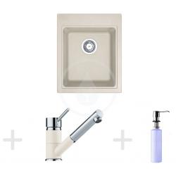 Kit de cuisine G62, Évier en granit KSG 218, vanille + Mitigeur FG 7486, vanille + Distributeur de savon FD 300 (114.0365.087)