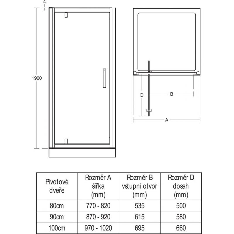 Porte de douche pivotante 90 cm l6362eo akaaz - Porte de douche 90 ...