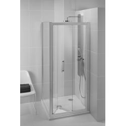 Porte de douche pliante 90 cm, argent brillant (L6369EO)