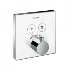 ShowerSelect Set de finition en verre pour mitigeur thermostatique ShowerSelect E encastré avec 2 fonctions