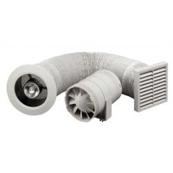 Sprchový set s potrubním ventilátorem 100 mm a osvětlením, mřížka bílá/chrom