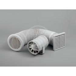Sprchový set s potrubním ventilátorem 100 mm a časovačem, mřížka bílá