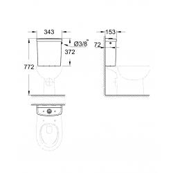 Bau Ceramic Réservoir de chasse équipé, blanc alpin (39437000)