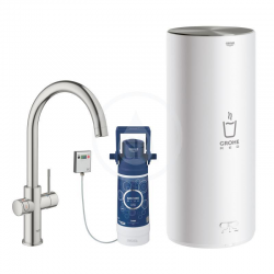 GROHE Red Duo Robinet et chauffe-eau taille L, Supersteel (30079DC1)