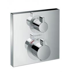 Ecostat Square Set de finition pour mitigeur thermostatique Square encastré avec robinet d'arrêt, chromé