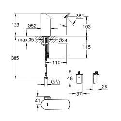 Bau Cosmopolitan E Mitigeur lavabo infrarouge 1/2″ avec limiteur de température ajustable, Chromé (36451000)