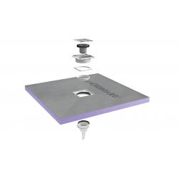 Receveur de douche à carreler Aqua Centré 900x900x40mm siphon vertical offert (4512087 + 4512008)