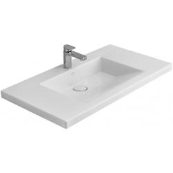 Lavabo monotrou, sans trop plein 1000 mm x 550 mm, avec Ceramicplus, blanc