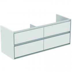 CONNECT AIR Meuble pour lavabo-plan double Couleur blanc laqué 517 x 1300 x 440 mm (E0824B2)