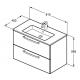 Ideal Standard Tempo - Lavabo + meuble (K2978OS) coloris chêne sablé, 81,5 x 45 x 56,5 cm