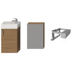 Petit - Meuble avec éclairage + lavabo, 38,6 x 22,1 x 58,5 cm (H4535121753081)