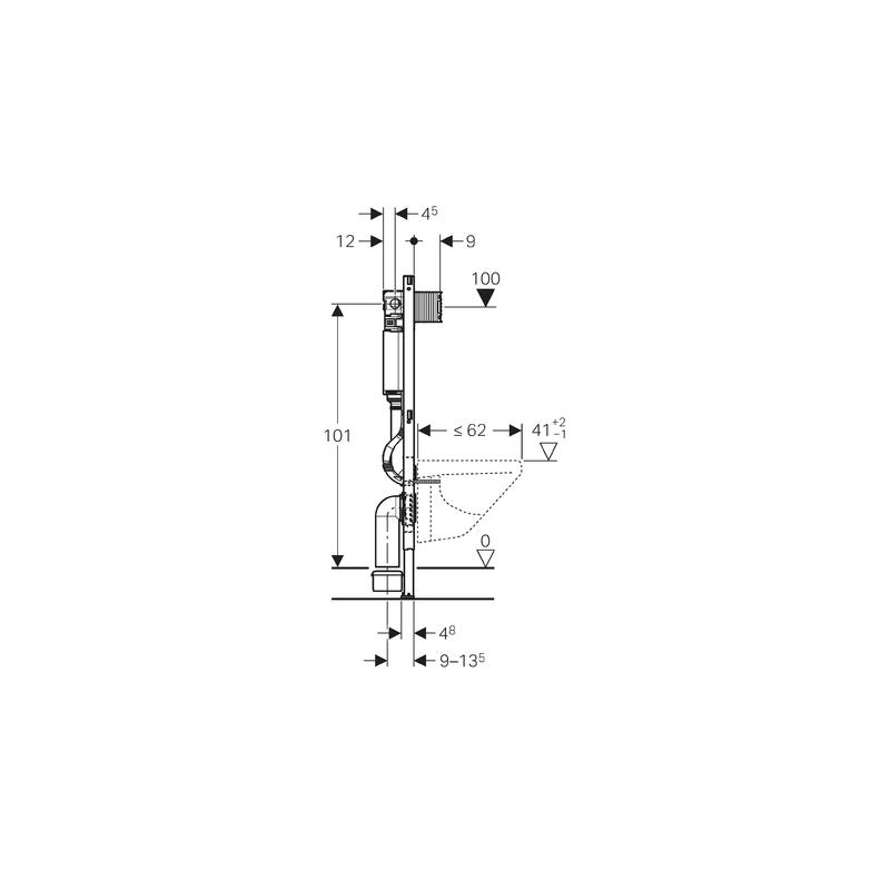 Geberit Duofix Element Pour Wc Suspendus Avec Reservoir De Chasse