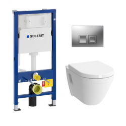 Pack WC GEBERIT DuofixBasic + VITRA Cuvette S50 RimEx avec abattant softclose (S50rimless-GEB2)