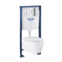 Pack WC Rapid SL GROHE + Cuvette Grohe Essence RIMLESS + Plaque de commande Grohe Skate Chrome (GROHE-ESSENCE)