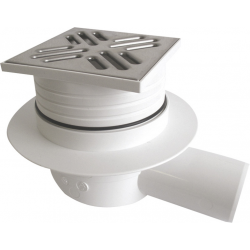 Siphon douche grille inox carrée 105x105mmm évacuation horizontal (SI50C00)e