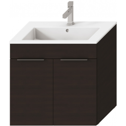 Jika CUBE Armoire à 2 portes avec lavabo 65 x 43 cm, chêne foncé avec lavabo 65 x 43 cm (H4536011763021)