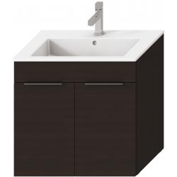 Jika CUBE Armoire à 2 portes chêne foncé avec lavabo 65 x 43 cm (H4536011763021)