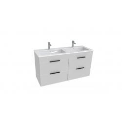 Armoire Jika CUBE 4 tiroirs double vasque 120 × 43cm, blanc laqué (H4536621763001)