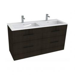 Armoire Jika CUBE 4 tiroirs double vasque 120 × 43cm, chêne foncé