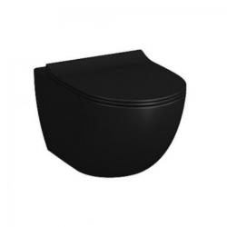 SENTO Cuvette noire mat RIM-EX (sans bride) et abattant ultra-fin avec frein de chute (7748B083-0075 + 120-083R009)
