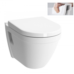 Pack WC GEBERIT DuofixBasic + VITRA Cuvette S50 RimEx avec abattant softclose (S50rimless-GEB1)