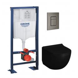 Pack Rapid SL autoportant + plaque hard graphite brossé + WC suspendu SENTO + abattant noir mat (autoportantblacksento1)